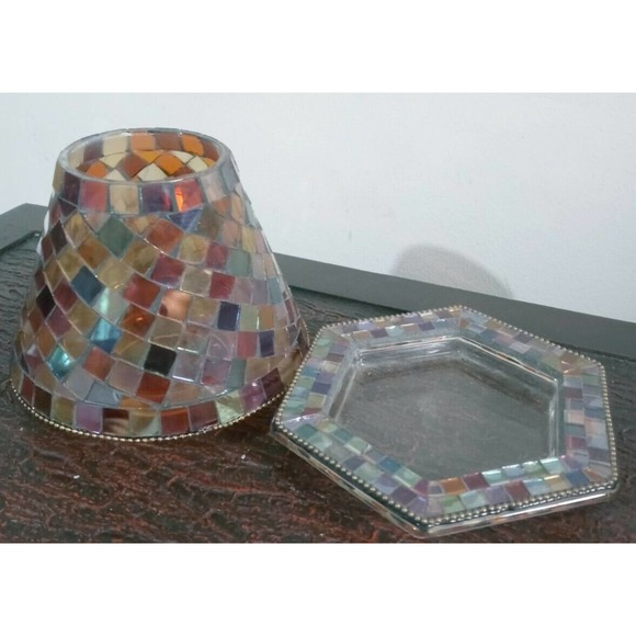 PartyLite Global Fusion Mosaic Decorative Shade & Tray Candle Holder Retired